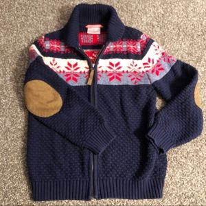 Hanna Andersson Fair Isle sweater w elbow patches